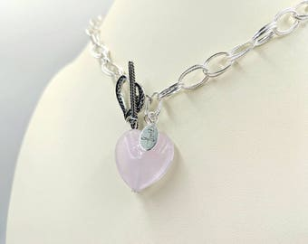 Pink Heart Toggle Necklace - Sterling Fancy Double Link Chain Necklace w Pink Venetian Murano Glass Heart and Sterling Heart Toggle Close