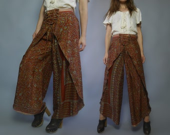 Vintage Maxi lace up wrap Palazzo pants Culottes pants Ethnic print lady wide leg pants Full trousers Maxi loose long bohemian pants