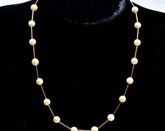 Perlenkette Zuchtperlen Salz Meerwasser Perle Gold gefüllte Rohr 16mm