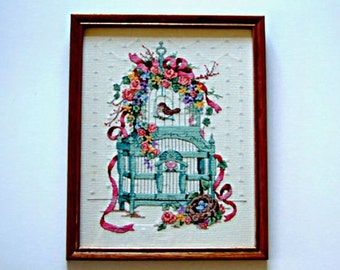 Framed Needlepoint Stylish Victorian Birdcage Birds Nest & Flowers Pink and Aqua Bird Art Home Decor Wall Art Wall Hanging Housewarming Gift