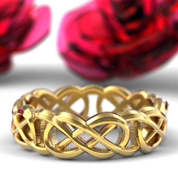 Gold Celtic Cut-Through Infinity Symbol Design in 10K 14K 18K or Palladium, Made in Your Size CR-1069
