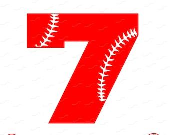 Digital Cut File, Monogram Baseball Numbers, Number 7, 7, Softball, Vinyl Cutting File, Baseball, SVG, DXF, EPS, Silhouette, Cricut