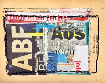Original art collage on ancient pages mixed media mixed paper