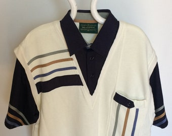 70s 80s Vintage Clothing Retro Men's Heathway Pattern Polo Shirt Cream Large
