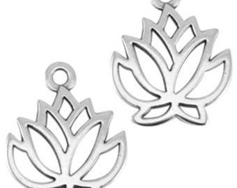DQ Metal pendant lotus flower-1 piece-19 mm-Zamak-color selectable (color: silver)