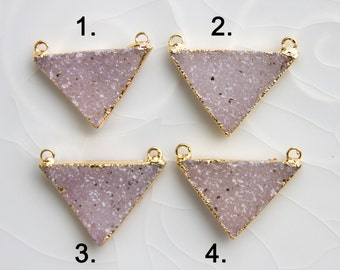 White/Cream/Natural Druzy Triangle Pendant, Drusy Pendant, Electroplated, Gold Edged, B