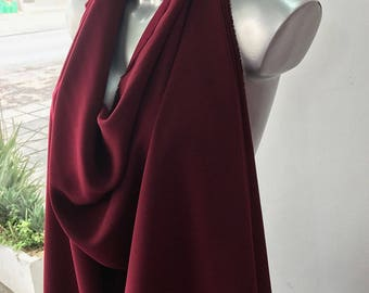 Dark red, wine Bordeaux stretch crepe fabric,  2 way stretch pebble crepe textured polyester spandex 150cm 60 inches