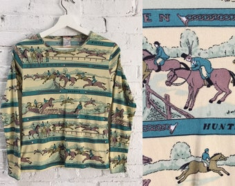 vintage 70s horse racing print top / stretchy equestrian print shirt / Kentucky Derby top