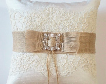 Wedding Ring Pillow in Silk with Alencon Lace, Burlap Ribbon and Rhinestone Detail - The MEGAN Pillow