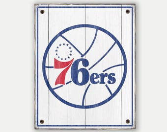 Sixers sign - Print applied to wood - 76ers fan gift - Man cave Boys room Sports Bar decor Fathers Day gift for Dad