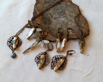 """Mini, Tiny Knives - 1 """" - 1 1/2"""" Miniature Knives, Knife Jewelry, Abalone, Mother of Pearl, Knife Pendant, Knife Earrings, Fob, Supply"""
