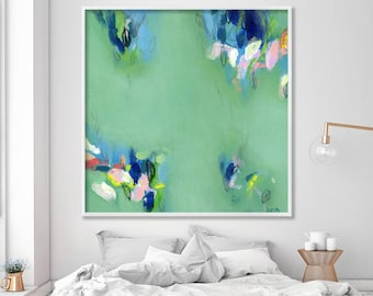 "Large wall art, ABSTRACT giclee print, abstract painting print up to 40x40"", modern wall art, Abstract Art, green painting by Duealberi"