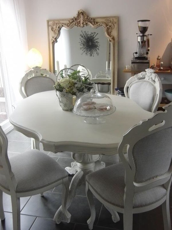 shabby chic french style dining table hand painted in chalk paint - Shabby Chic Dining Table And Chairs