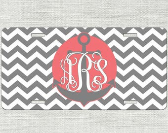 Anchor License Plate, Front License Plate, Car Tag, Monogram License Plate Car Tag, Personalized License Plate Chevrons 9159