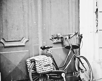 Paris Photography, black and white art prints, Bicycle wall decor - Streets of Paris - nursery art, Paris decor, vintage bicycle, wall art