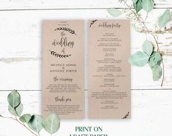 Simple Wedding Program Template, DIY Wedding Program Templates Printable, Wedding Programs, Wedding Printable, Modern Wedding Program, 0015