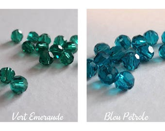 Set of 15 Crystal Bohemia, 4mm faceted beads, 2 color choices (teal or emerald green)