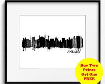 Ankara Skyline Watercolor Black and White Art Print (763) Cityscape, Turkey