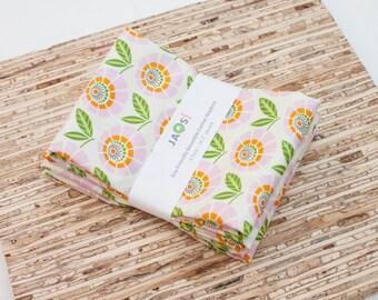 Large Cloth Napkins - Set of 4 - (N2418) - Pink Stella Flower Floral Modern Reusable Fabric Napkins