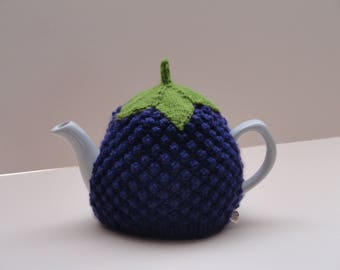 Knitted purple blackberry 1-2 cup teapot cosy, Small blackberry tea cosy, Lined or unlined purple knitted blackberry 1-2 cup teapot cover