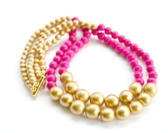 hot pink beaded necklace / hot pink and gold / hot pink necklace / bridesmaid necklace / colorful necklace / statement necklace