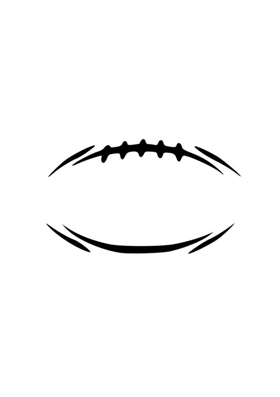 football modern outline laptop cup decal svg digital download cuttable files cricut silhouette - Football Outline