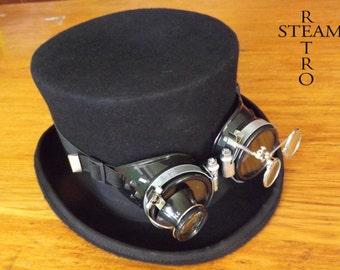 steampunk hat - new VINTAGE Wool Formal  Top Hat with goggles - steampunk top hat - steampunk top hat with black goggles