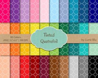 """Quatrefoil Digital Paper pack: """"Tinted Quatrefoil"""" digital paper bundle, quatrefoil scrapbook paper, set of 30, commercial use, mega pack"""