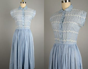 Vintage 1950s Cotton Dress 50s Blue Embroidered Rhinestone Summer Dress Size S