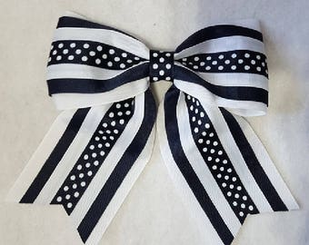 Black and White and Polka Dot Hairbow