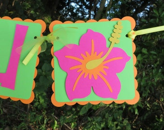 "Hibiscus Flower - ""Luau"" Banner - Bright Orange, Green, and Pink"