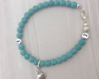 Turquoise weight loss tracker bracelet, slimming aid, weight loss, lifestyle aid, weight watchers, gift for her, turquoise bracelet