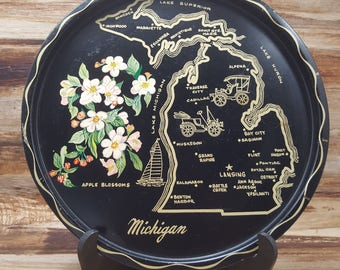 Vintage metal State Tray, Metal Tray, 1970s, Michigan
