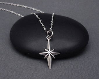 North Star Necklace Sterling Silver Guiding Star Pendant Charm, Celestial Pendants, Polaris Necklace