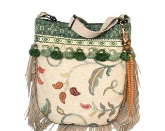 Fringed bag bohemian style in cream, green, coral - Indian crossbody bag handmade shoulderbag OOAK Native American style purse fringe