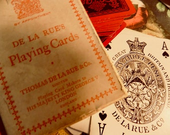100 year old Deck of CARDS RARE Thomas De La Rue & Co LTD London Ireland His Majesty King George V Duty 3  red black deck playing cards