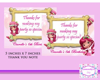 Printable Strawberry Shortcake Thank You Note (5 inches x 7 inches)