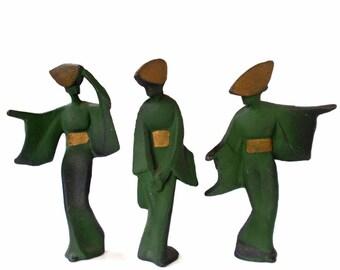 Vintage Japanese Geisha Cast Iron Figures Set of Three
