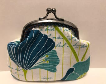 Blue Poppy with French Writing Coin Purse