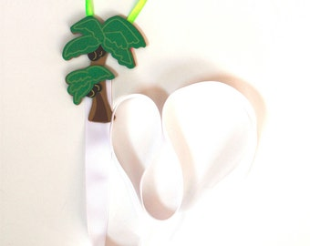 Barrette Keeper Hair Clip Organizer with Palm Trees and Jewel