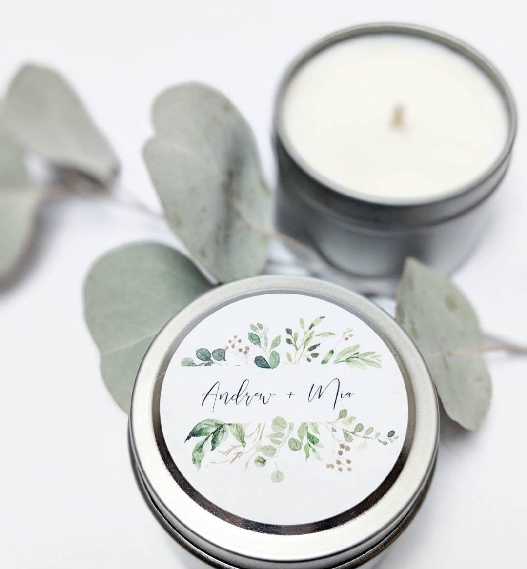 Wedding Favor 2 oz Candles Botanical Wedding Favors