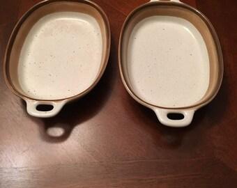 Mikasa Buckskin - Set of 2 Augratin Dish - Potter's Art - Stoneware - Made in Japan