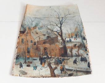 Painting skirt 'Winter Landscape with Ice Skaters', Hendrick Avercamp, Rijksmuseum, A-line skirt, size EU 38/40 (USA 8/10, UK 10/12), cotton