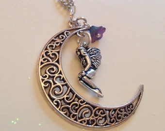 Moon and fairy pendent, cresent moon necklace , boho jewellery , festival jewellery, pagan jewellery