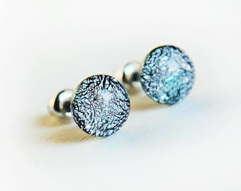 Silver glass stud earrings - glass post earrings - tiny stud earrings - surgical steel stud earrings - hypoallergenic earrings