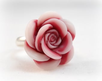 Flower ring Tween Jewelry Pink Rose Childrens Ring