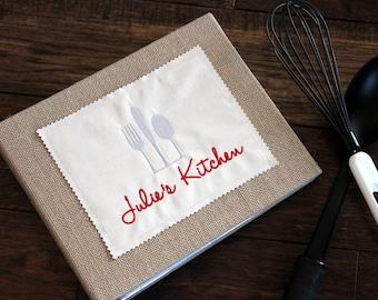 Personalized Recipe Binder/Book/Holder/Cookbook -Cards & Dividers - Silver Kitchen Utensils - Birthday, Wedding, Hostess, Housewarming Gift