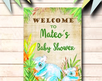 Baby shower welcome sign, Welcome to baby shower sign, Koalas shower sign, boy baby shower sign, printable welcome sign, decorations