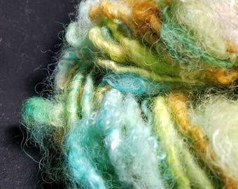 Handspun Blue Faced X wool 38 yds 4 oz Lock Spun Art Yarn Turquoise/Orange Arizona Sky Quilting/Crochet/Knitting/Doll Hair/Sewing