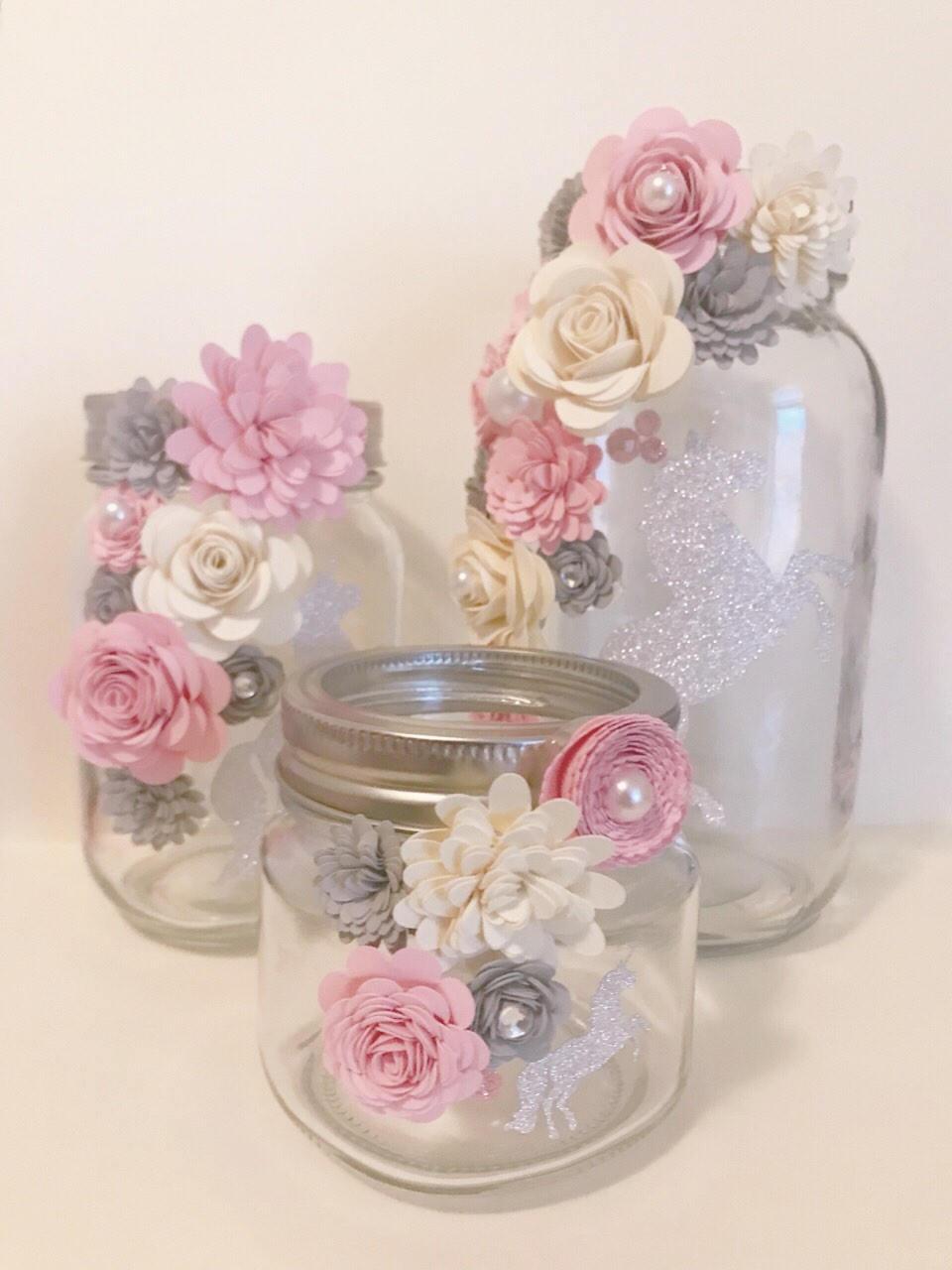 Paper Flower Jars sparkle Unicorn